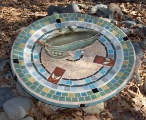 Mosaic Bird Bath made from Recycled Satellite Dish by Martha Jones