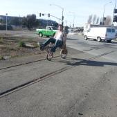 Artist Tom Kabat demos recumbent bike sculpture