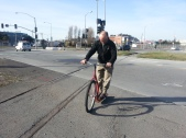 Artist Miles Epstein cruises Scooter Bike sculpture