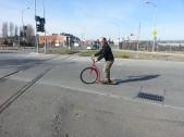 Artist Miles Epstein on Scooter Bike Bike Sculpture