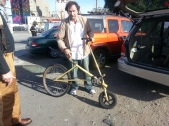 Artist Tom Kabat with Ski Bike Sculputre