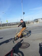 Artist Tim Armstrong tests ski bike sculpture
